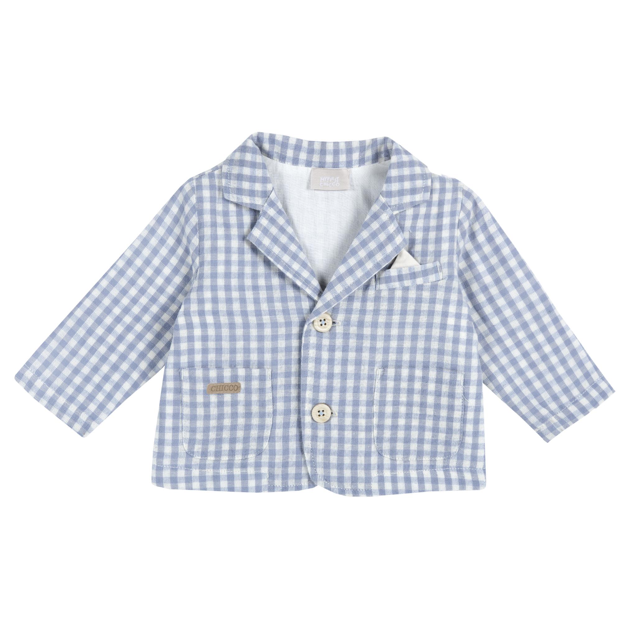 Jacheta Tip Sacou Copii Chicco, Alb Cu Bleu, 84345 imagine