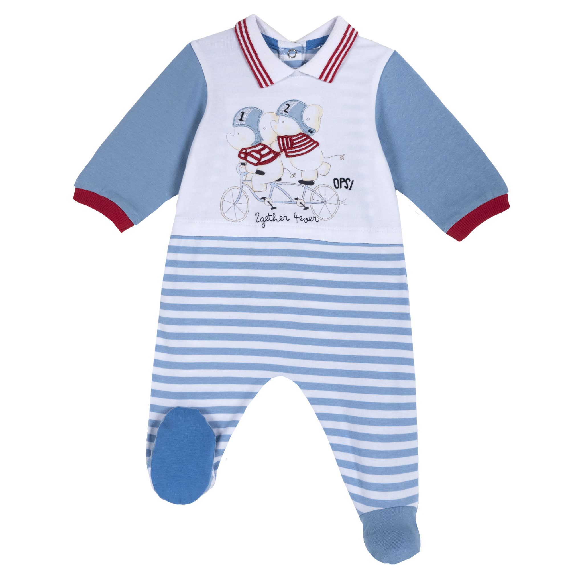Salopeta bebe Chicco, manca lunga si botosei, alb cu bleu, 21792