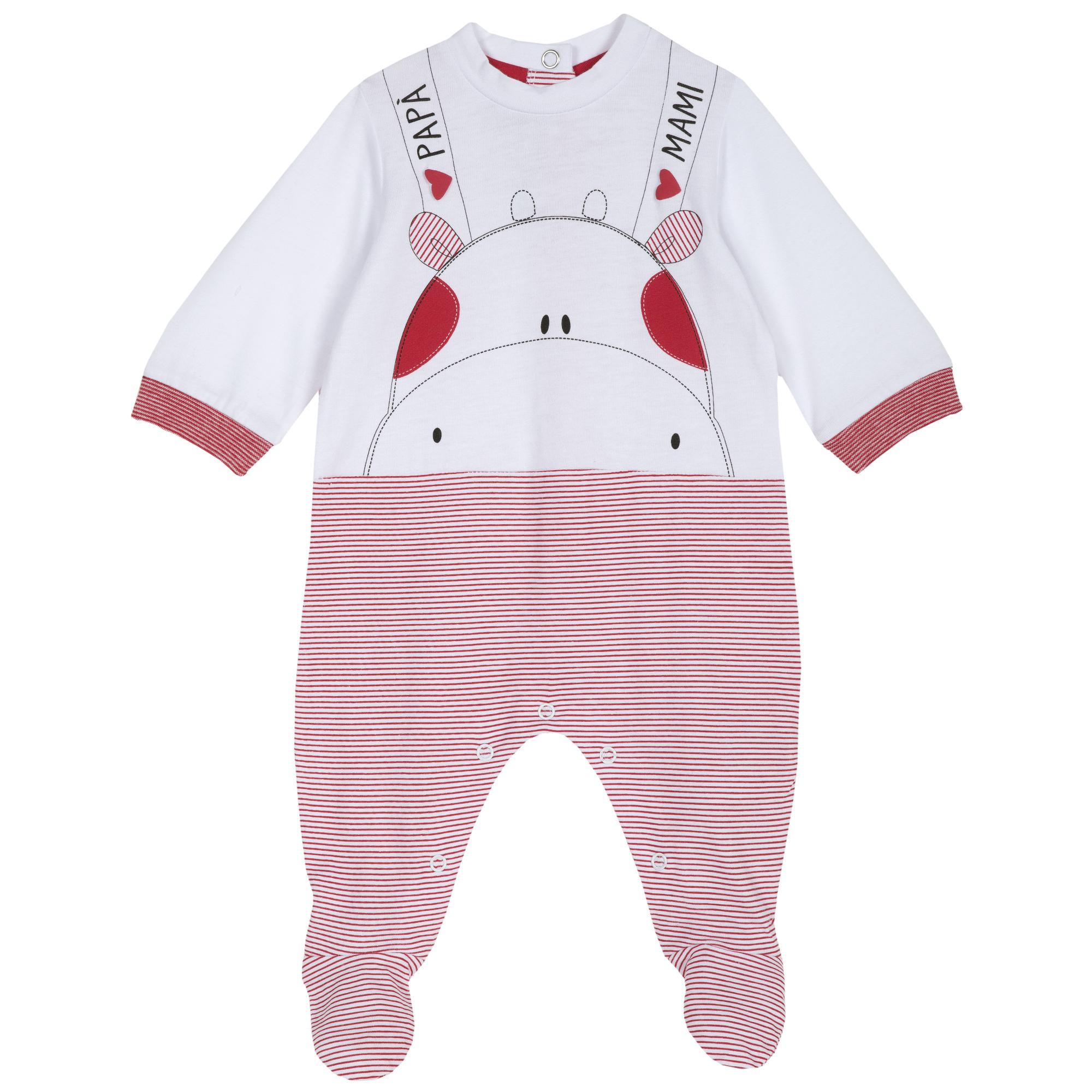 Salopeta bebe Chicco, maneca lunga, rosu cu alb, 21745 din categoria Salopete/Body