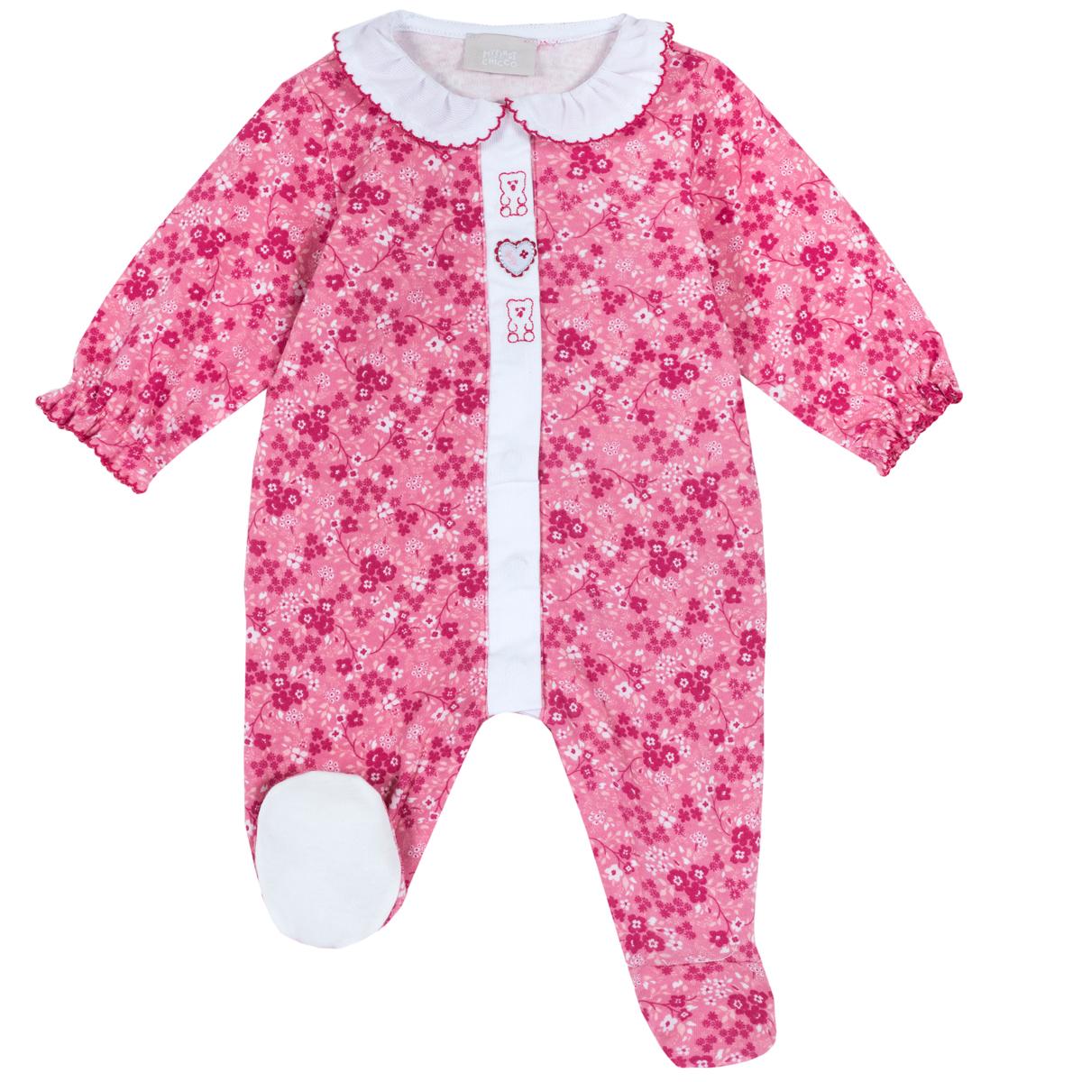 Salopeta copii Chicco, roz, imprimeu floral, 21896 din categoria Salopete/Body