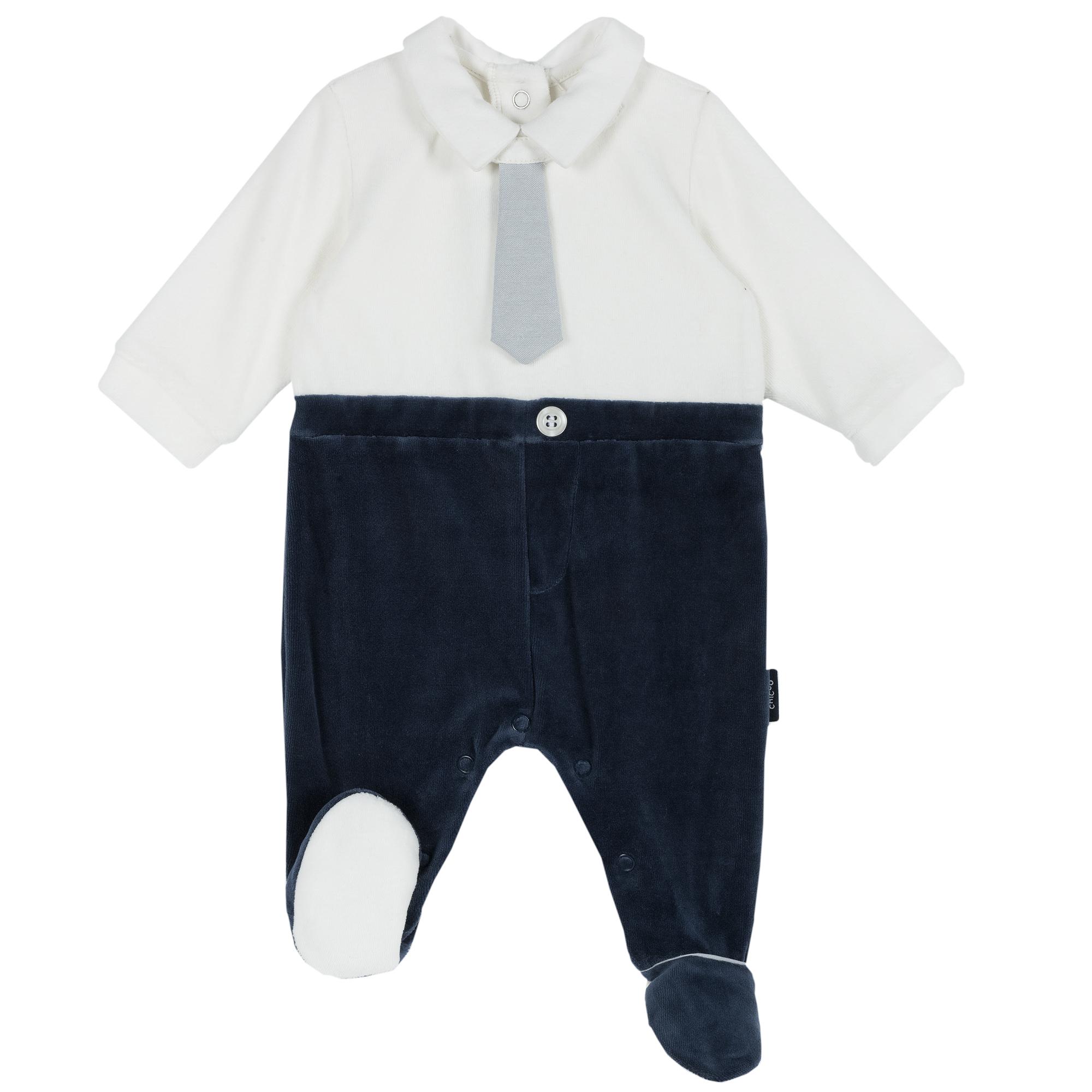 Salopeta copii Chicco alb cu bleumarin 62