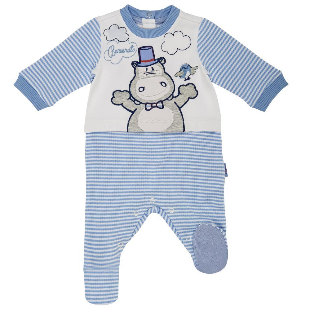 Salopeta bebelusi Chicco, cu botosei incorporati, inchidere spate, baieti, alb cu albastru
