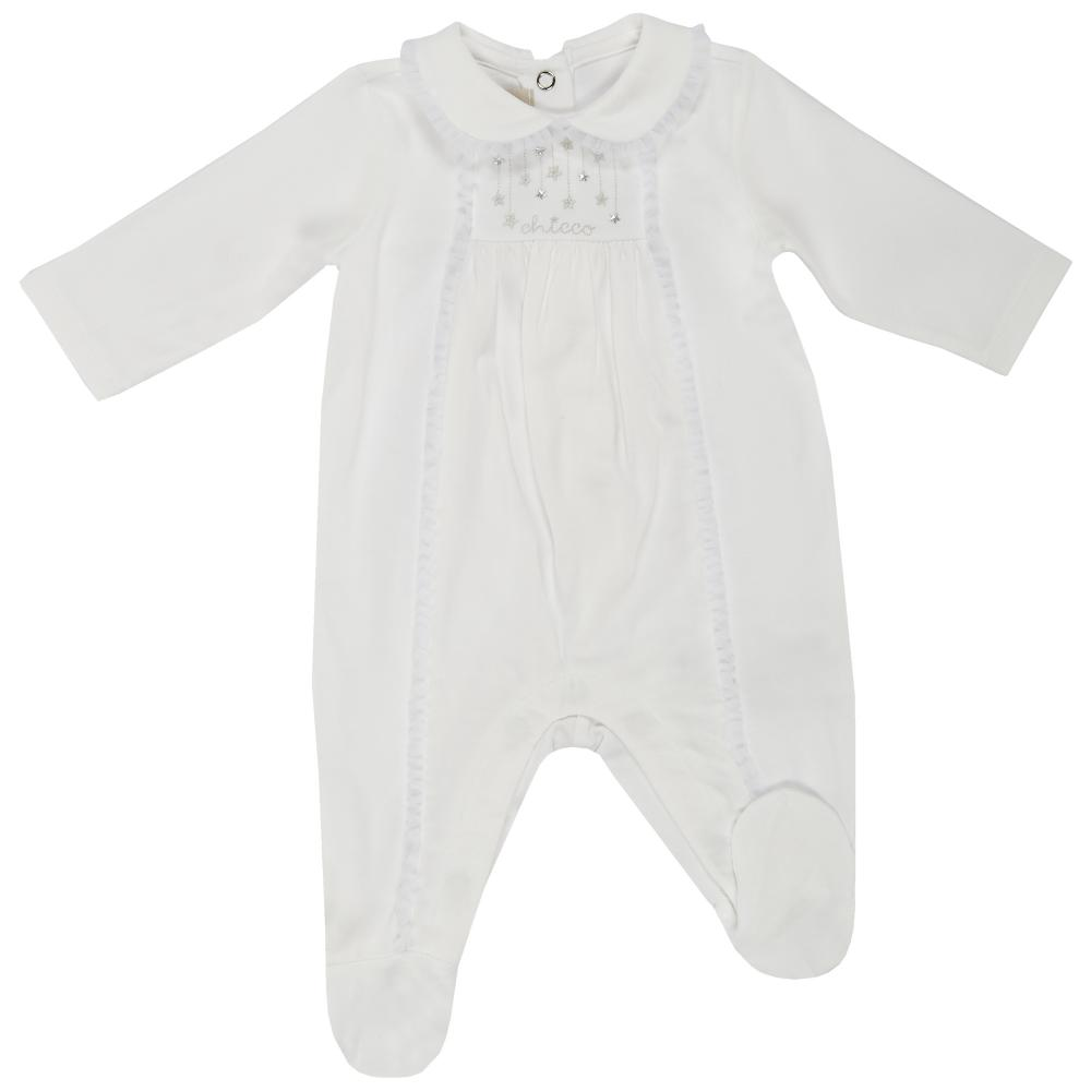 salopeta bebelusi chicco, cu botosei incorporati, inchidere spate, fetite, alb
