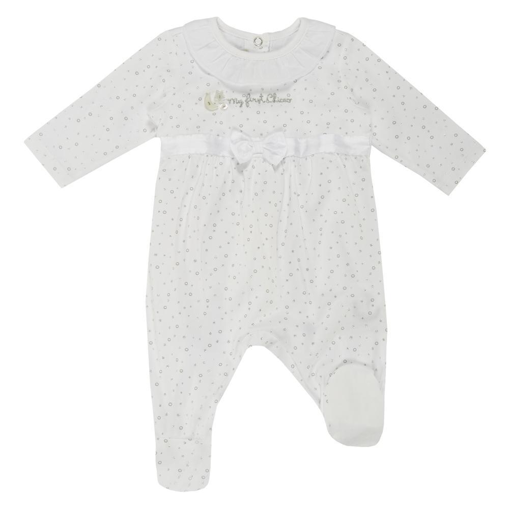 Salopeta bebelusi Chicco cu botosei incorporati inchidere spate fetite alb cu argintiu 56