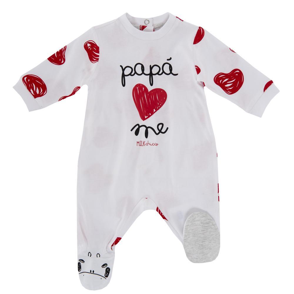 Salopeta bebelusi Chicco, cu botosei incorporati, inchidere spate, alb cu rosu din categoria Salopete/Body