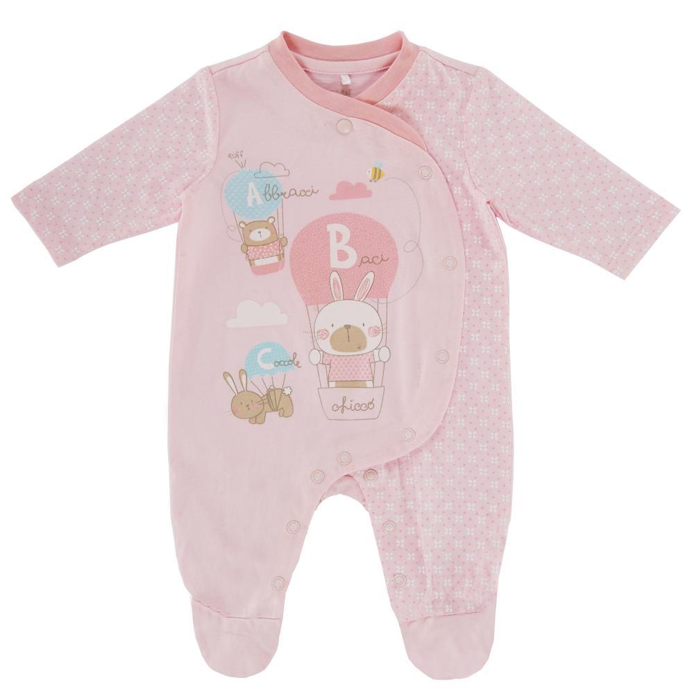 Salopeta bebelusi Chicco, deschidere fata, cu botosei incorporati, roz