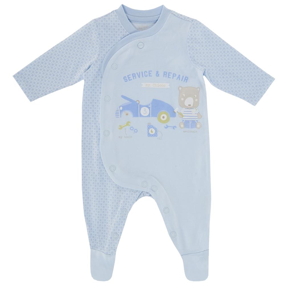 Salopeta bebelusi Chicco, deschidere fata, cu botosei incorporati, bleu