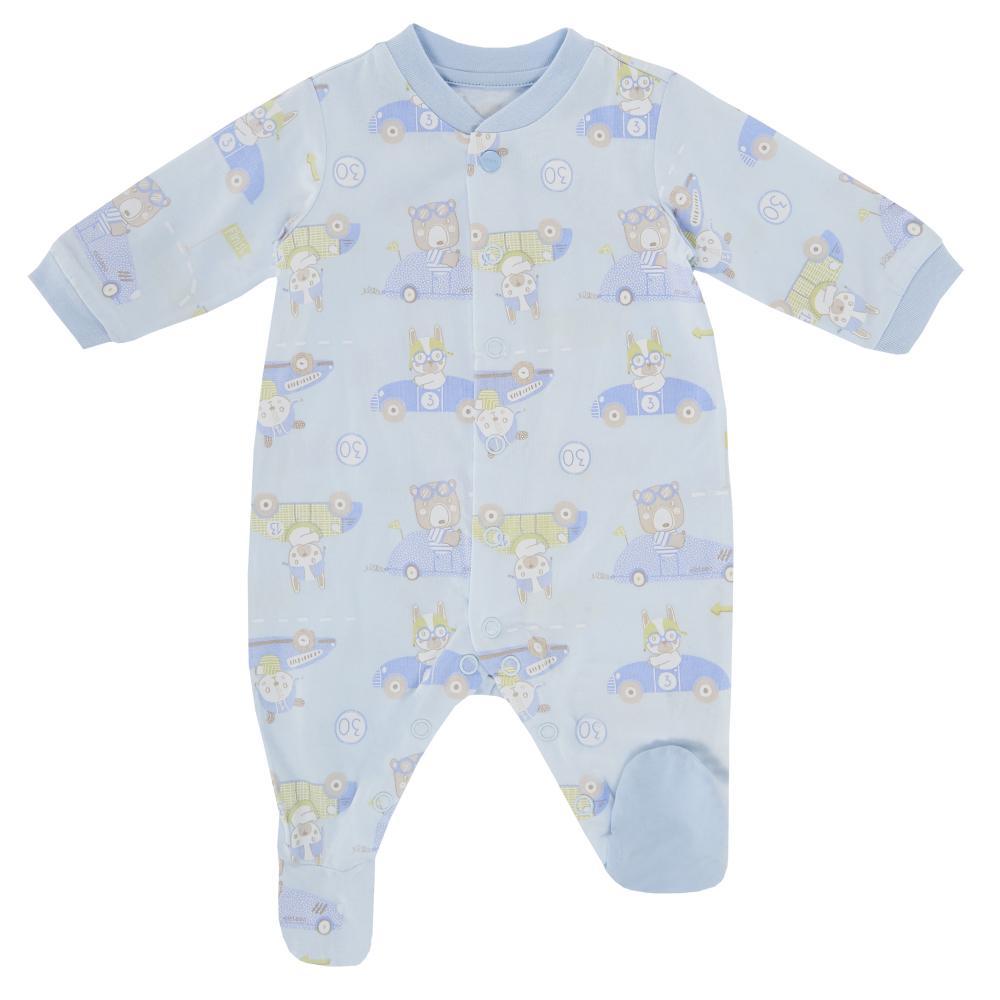 Salopeta bebelusi Chicco, deschidere fata, cu botosei incorporati, bleu, 21593