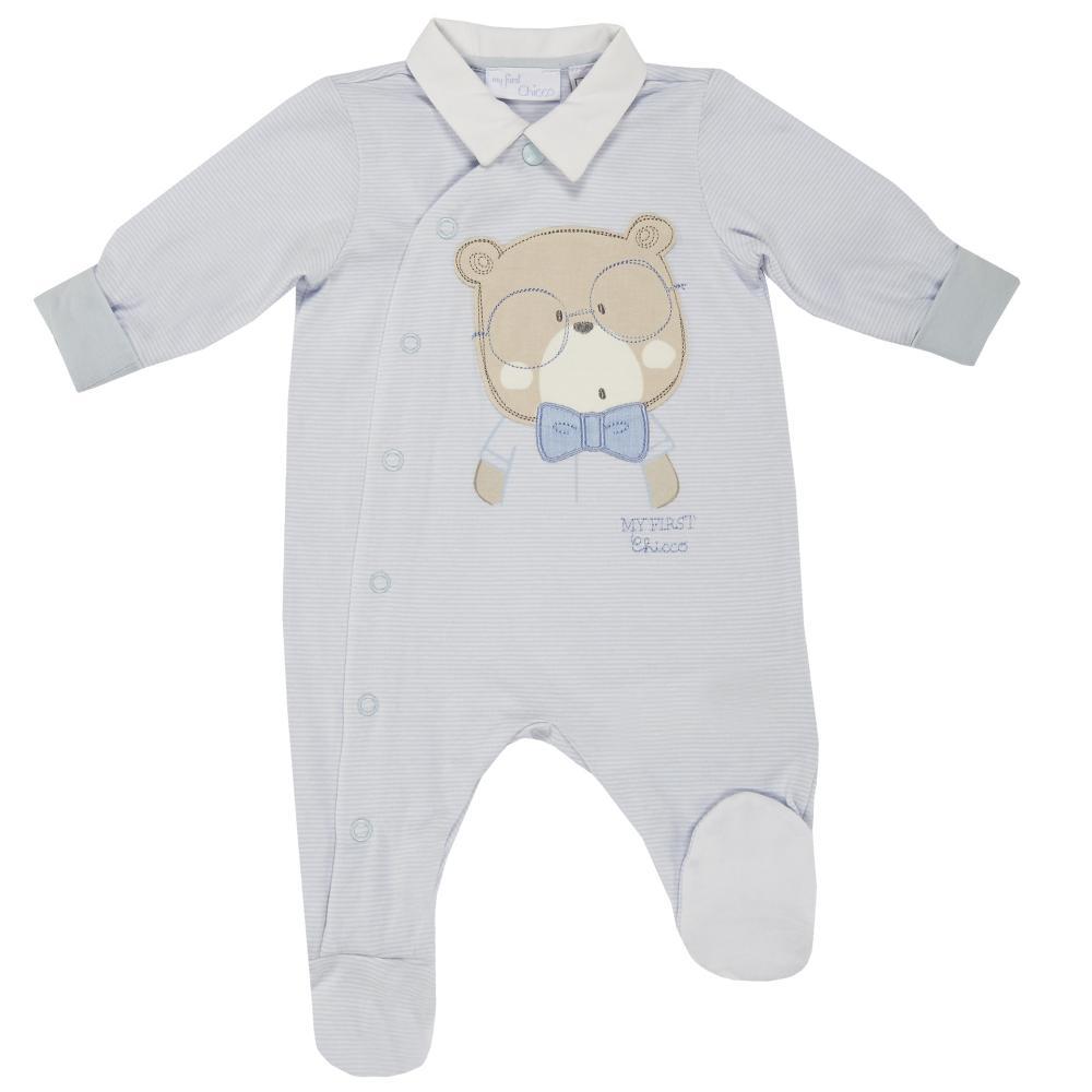 Salopeta bebelusi Chicco, deschidere fata, cu botosei incorporati, bleu, 21609 din categoria Salopete/Body