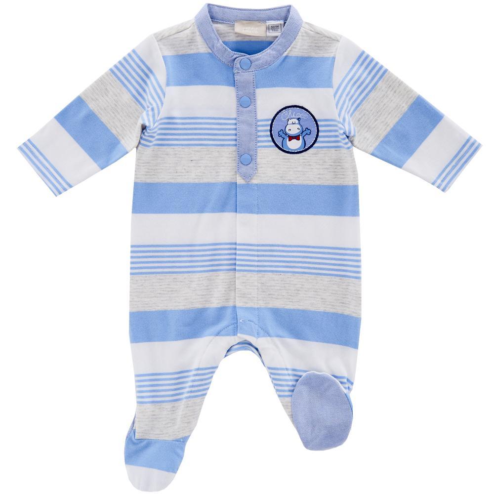 salopeta bebelusi chicco, deschidere fata, cu botosei incorporati, alb cu bleu