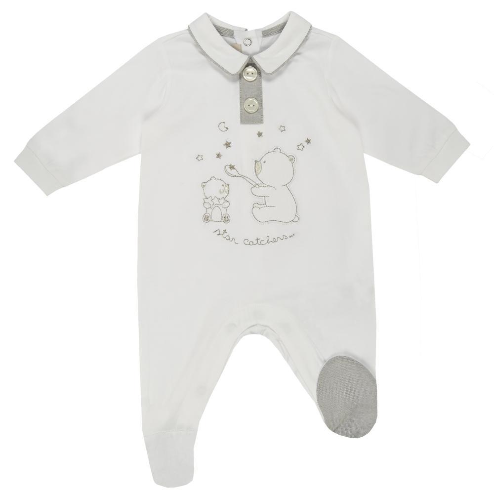 Salopeta bebelusi Chicco, deschidere scutec, cu botosei incorporati, alb, 21622