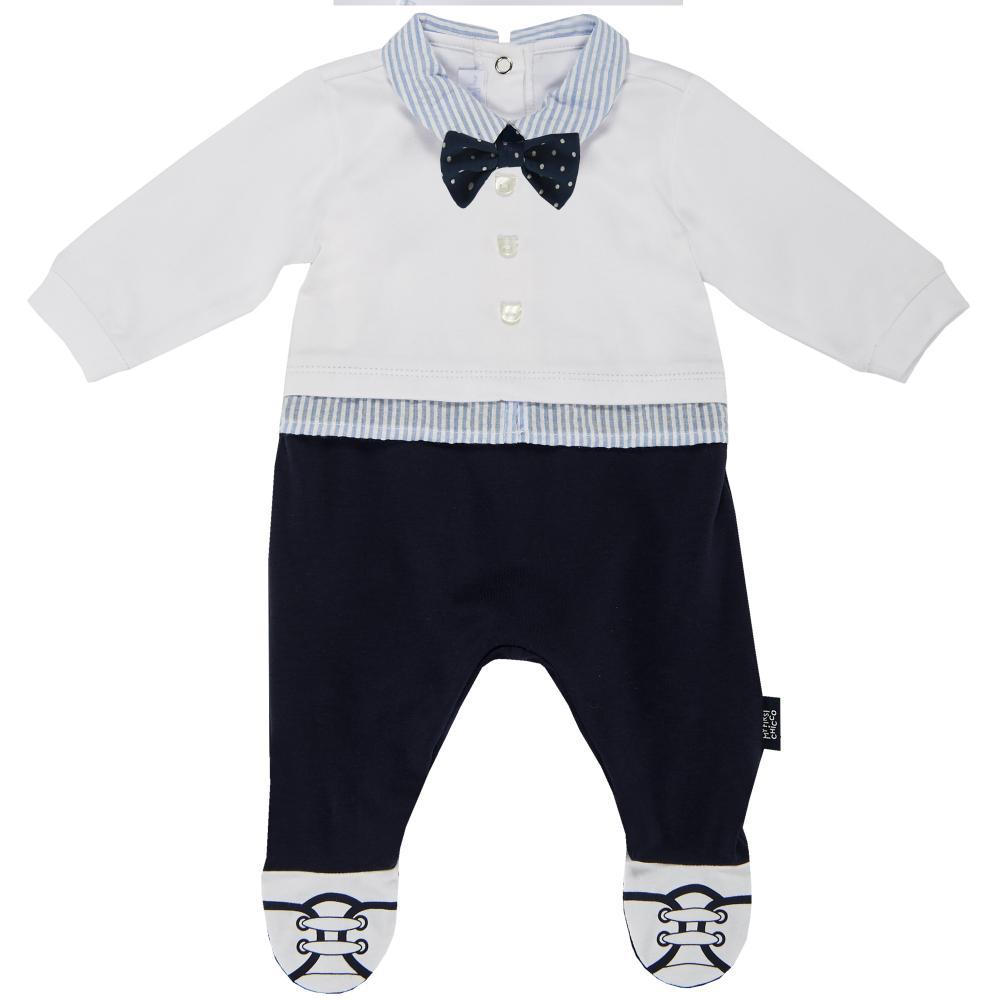 Salopeta bebelusi Chicco, deschidere spate, botosei incorporati, alb cu bleumarin