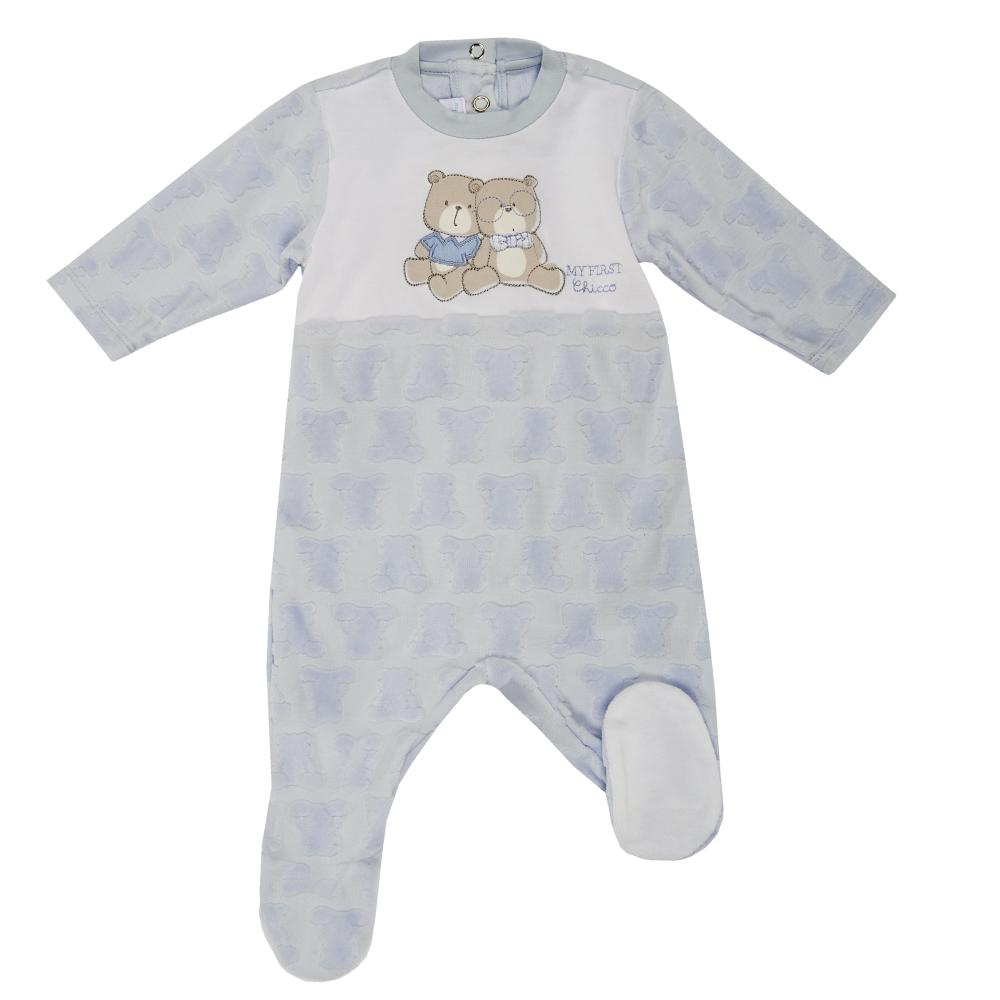 Salopeta bebelusi Chicco, deschidere spate, cu botosei incorporati, bleu
