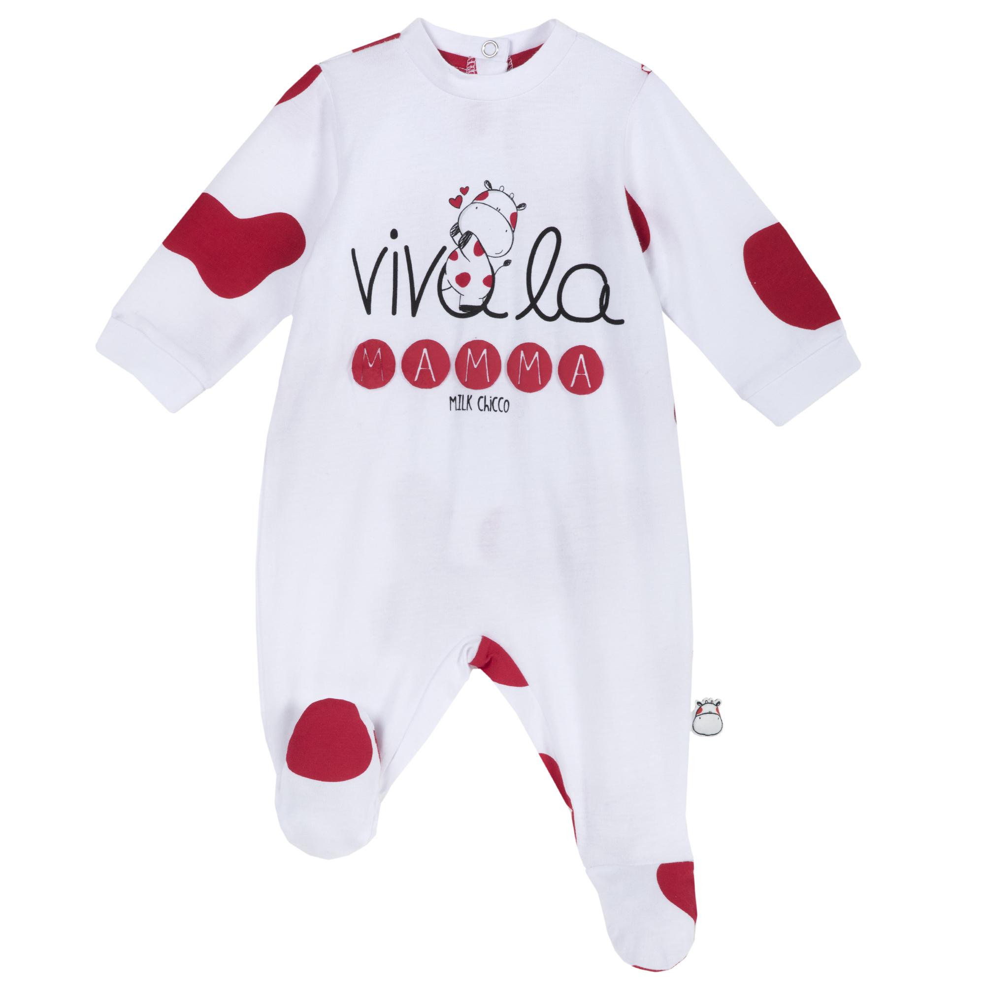 Salopeta bebelusi Chicco, maneca lunga, alb cu rosu, 21744