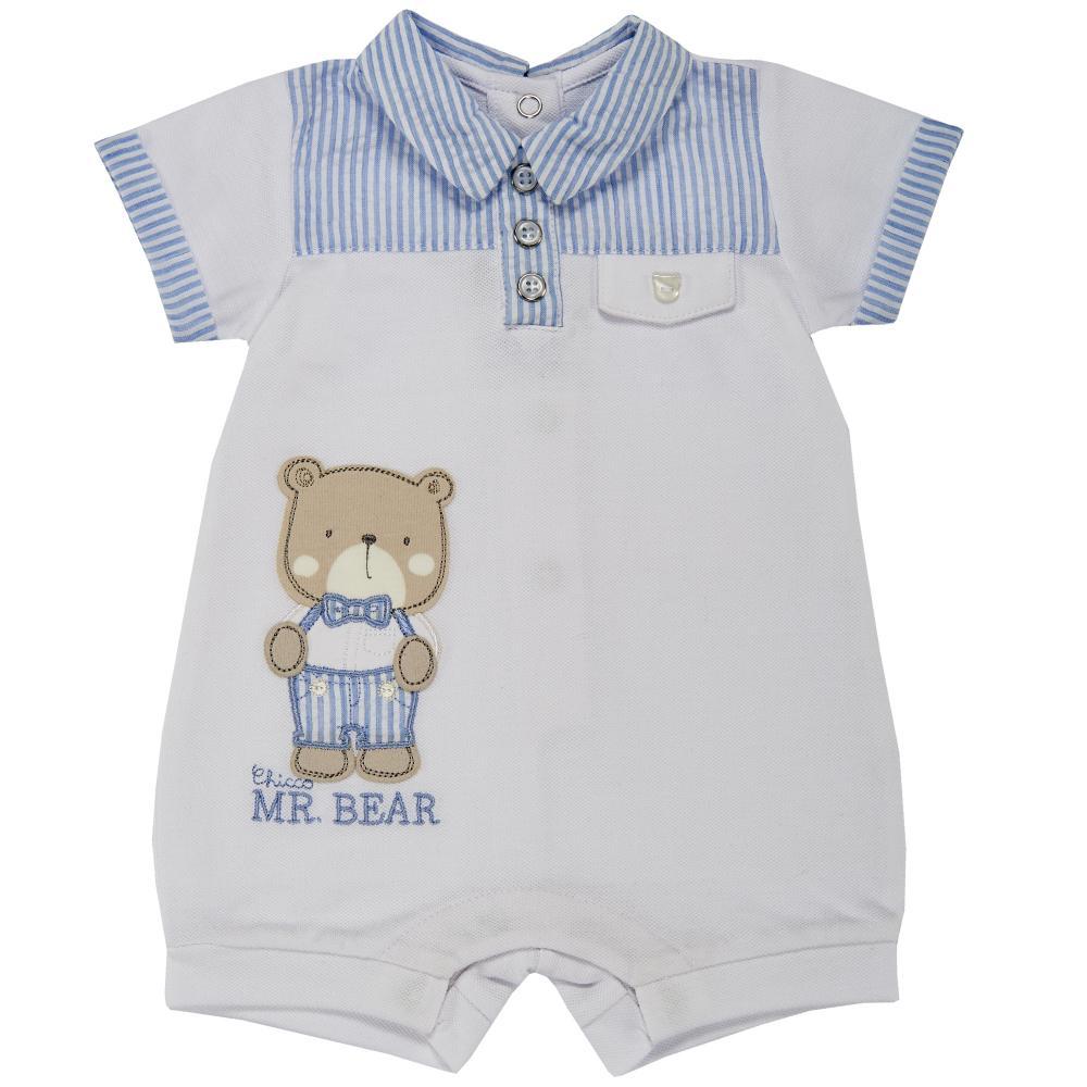 Salopeta bebelusi Chicco, scurta, alb cu bleu