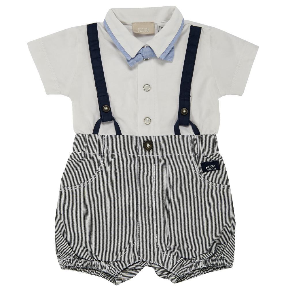 Salopeta bebelusi Chicco, scurta, alb cu bleumarin