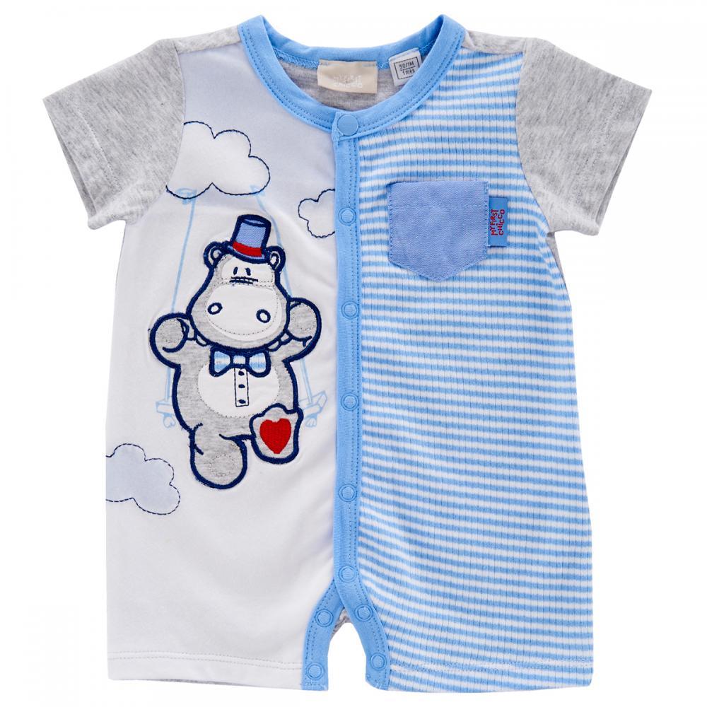 Salopeta bebelusi Chicco, scurta, albastru cu alb din categoria Salopete/Body
