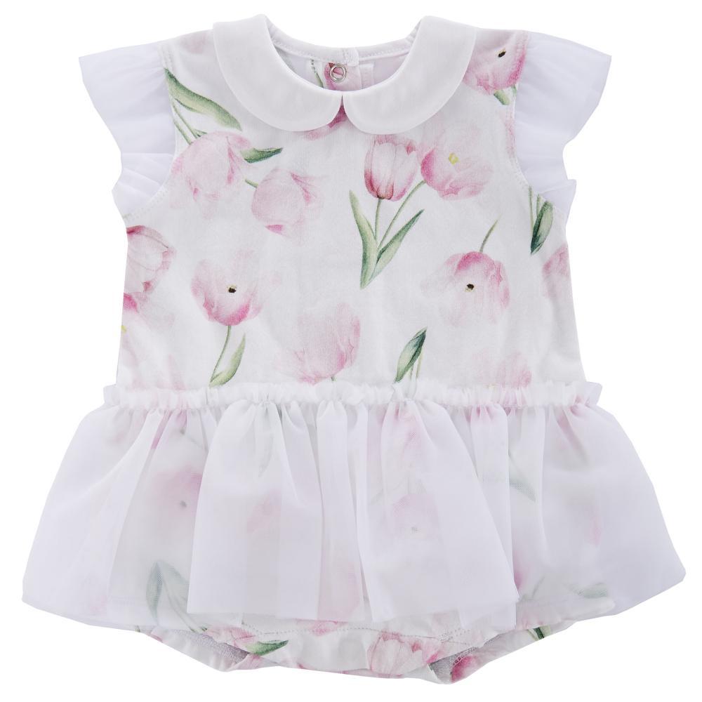 Salopeta bebelusi Chicco, scurta, fetite, alba cu lalele roz si tutu