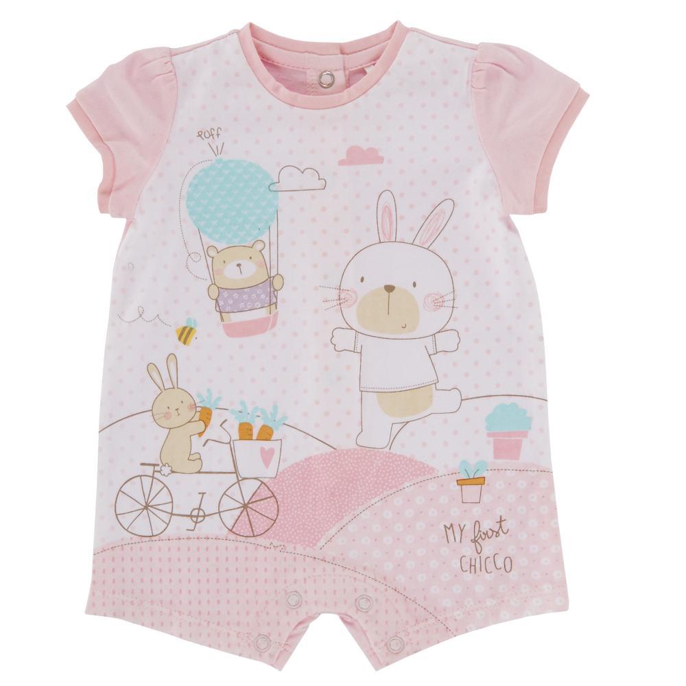Salopeta bebelusi Chicco, scurta, inchidere spate, fetite, roz