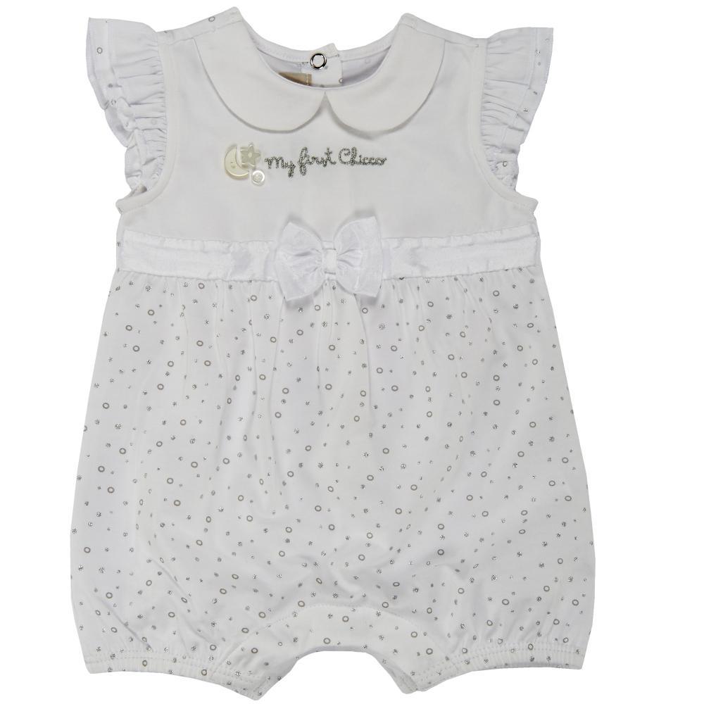 Salopeta bebelusi Chicco, scurta, inchidere spate, fetite, alb cu argintiu