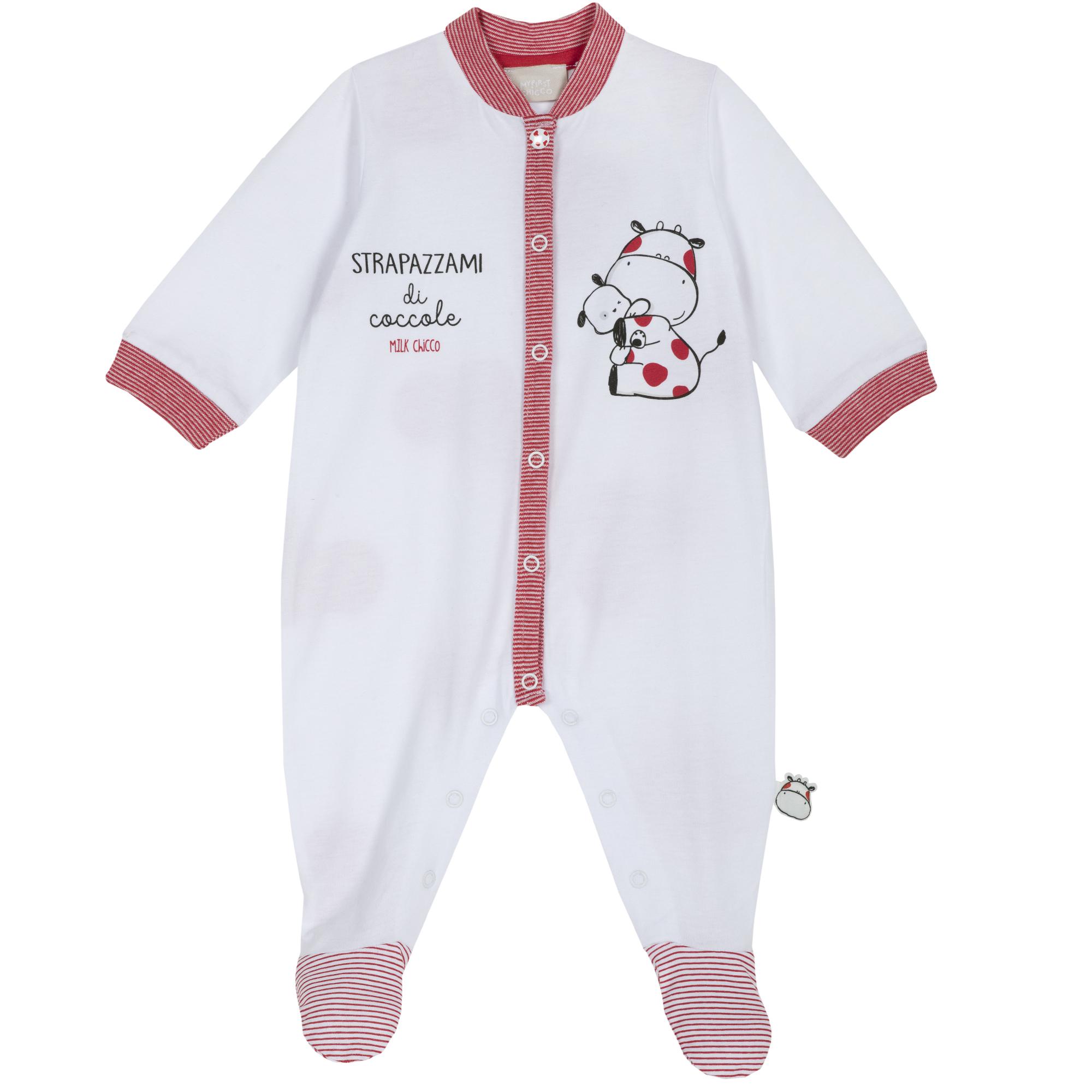 Salopeta copii Chicco, alb cu rosu, 21743