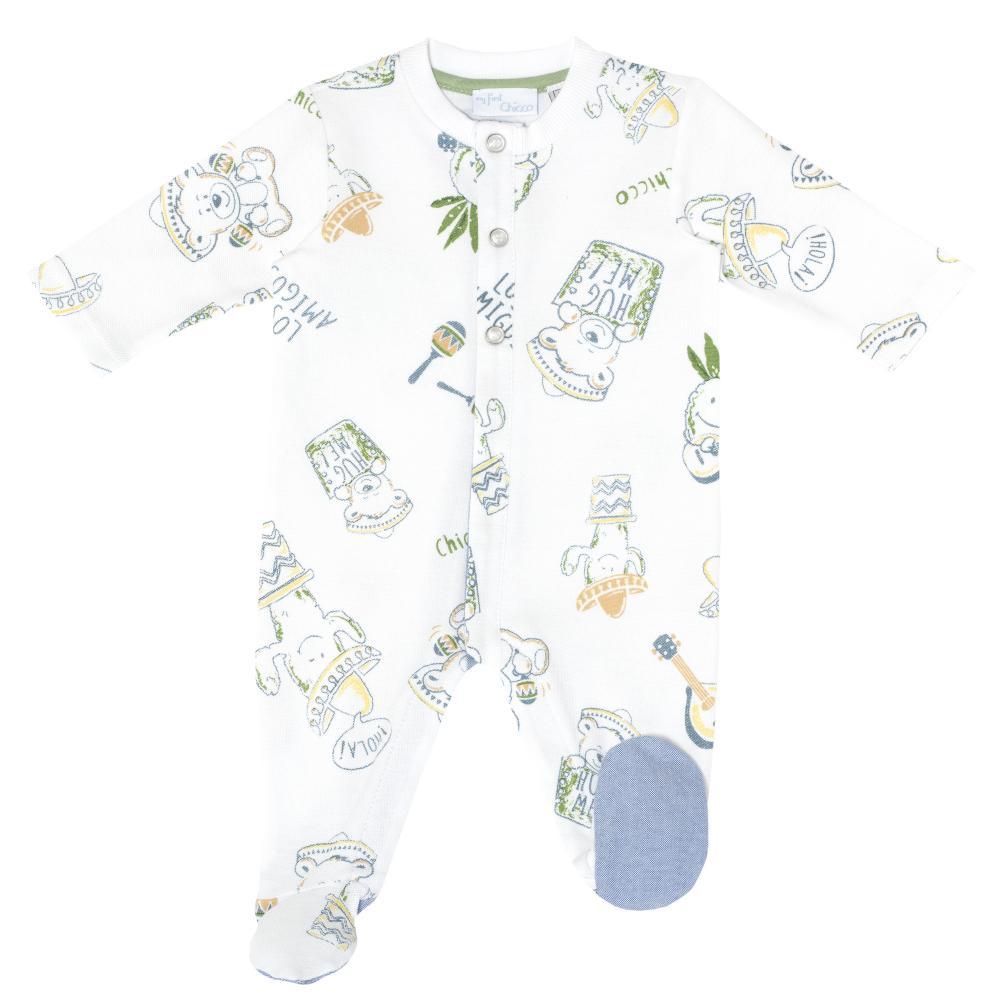 Salopeta pentru bebelusi Chicco, baietei, alb cu model, 21390