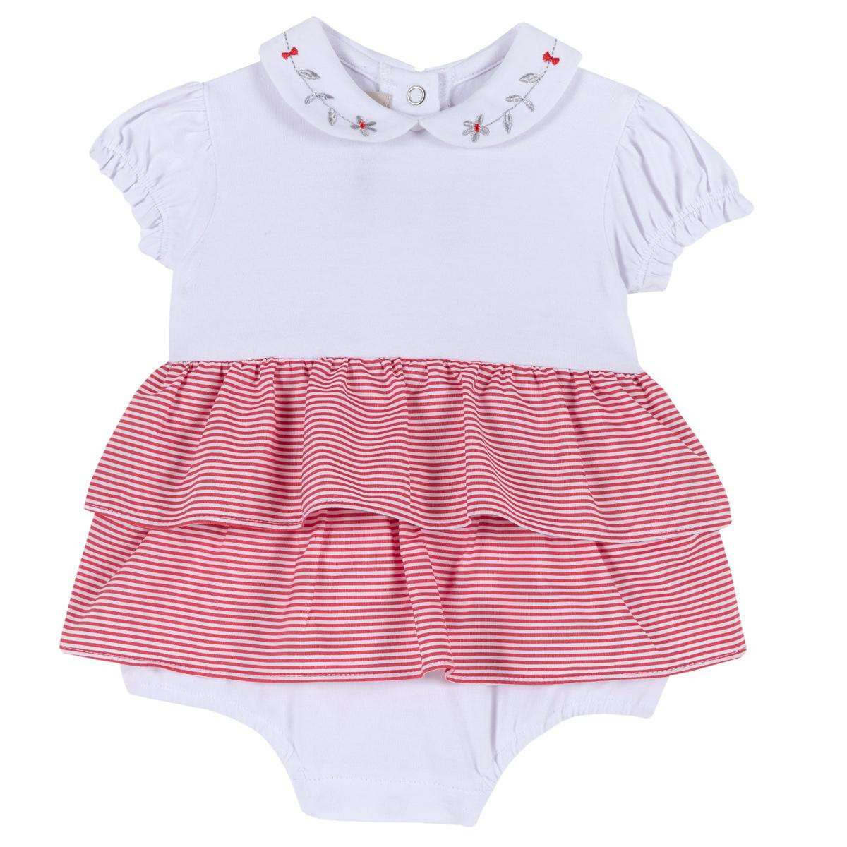 Chicco Salopeta cu fustita pentru fete Chicco jerse elastic alb cu rosu 56