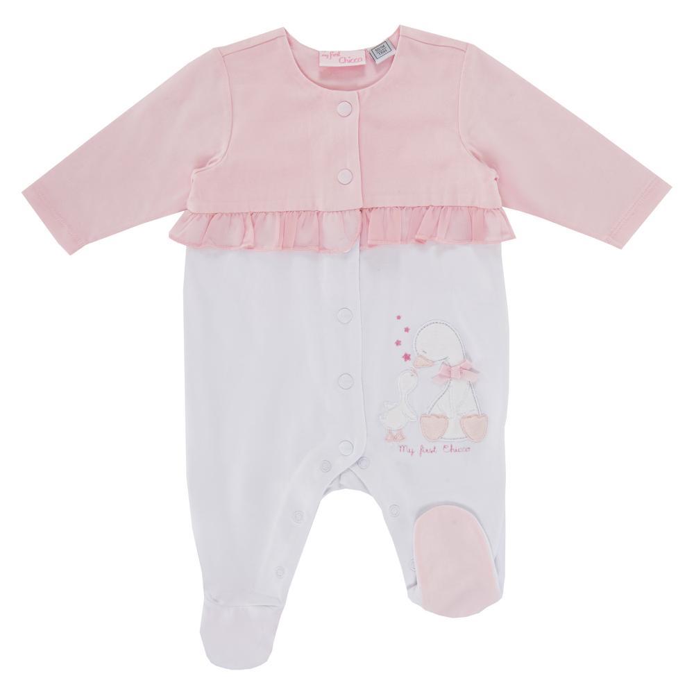 Salopeta roz cu alb copii Chicco fete 56