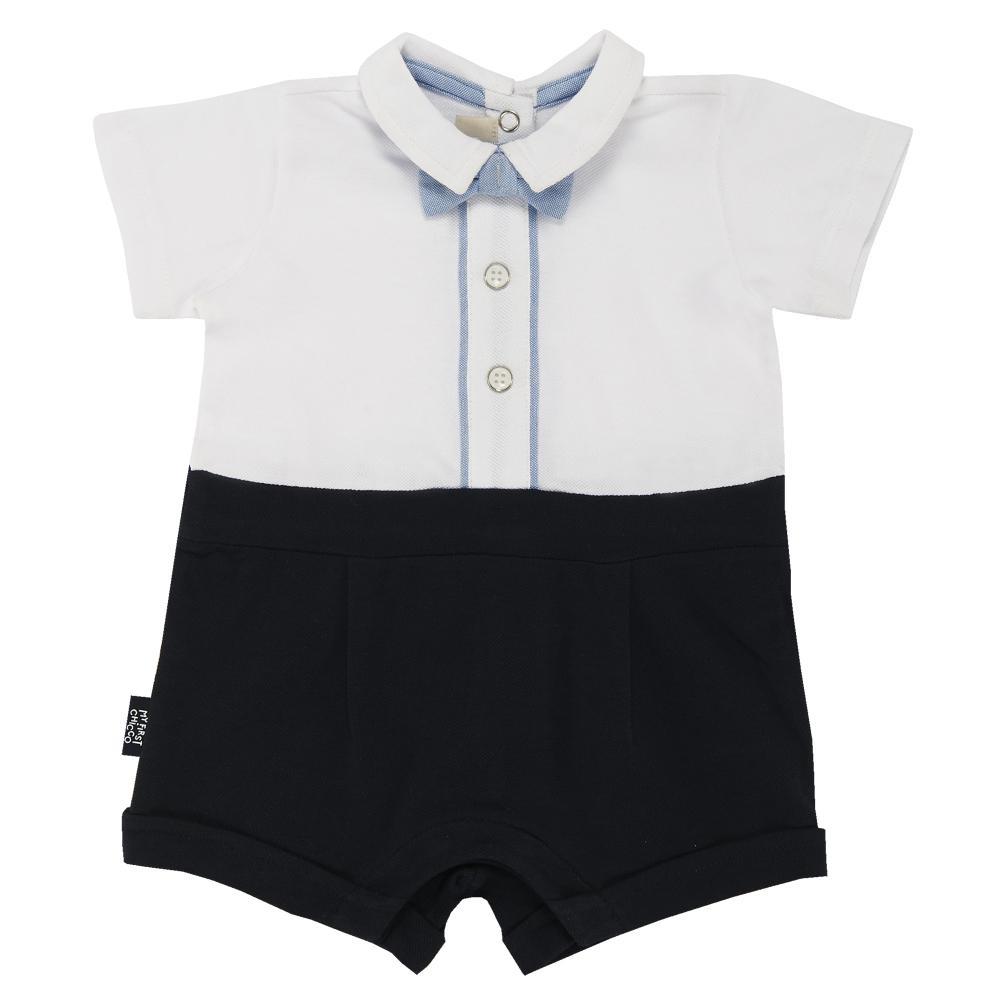 Salopeta scurta bebelusi Chicco, alb cu bleu si bleumarin