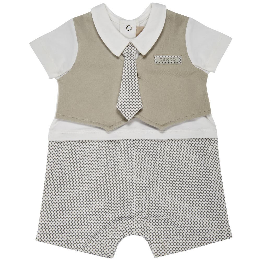 Salopeta scurta bebelusi Chicco, alb cu gri-bej