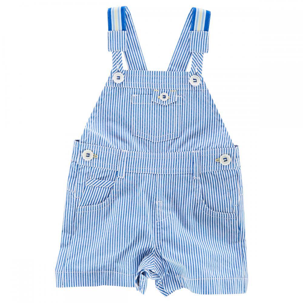 Salopeta scurta cu bretele copii Chicco, alb cu dungi albastre