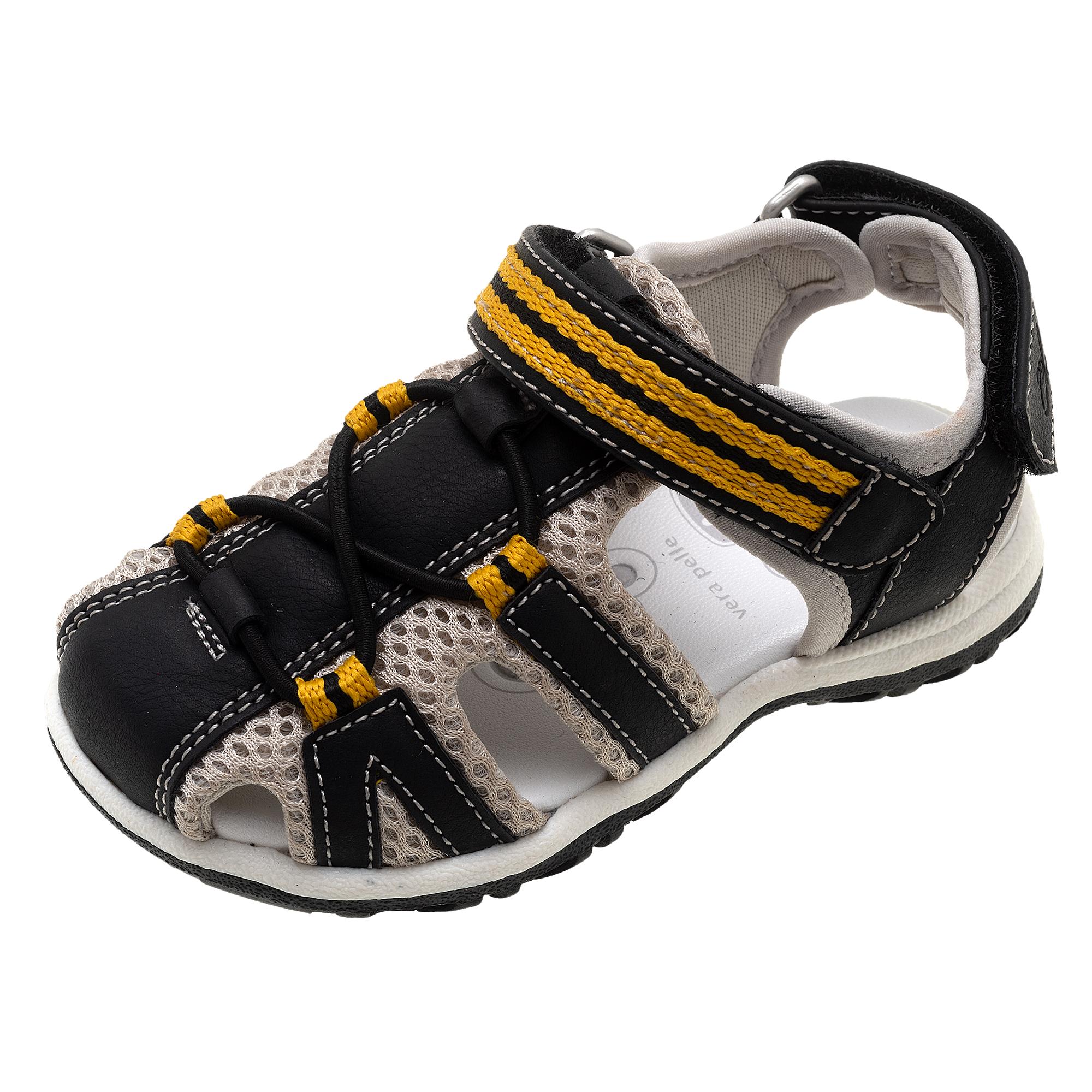 Sandale copii Chicco Callen, negru cu portocaliu, 61607