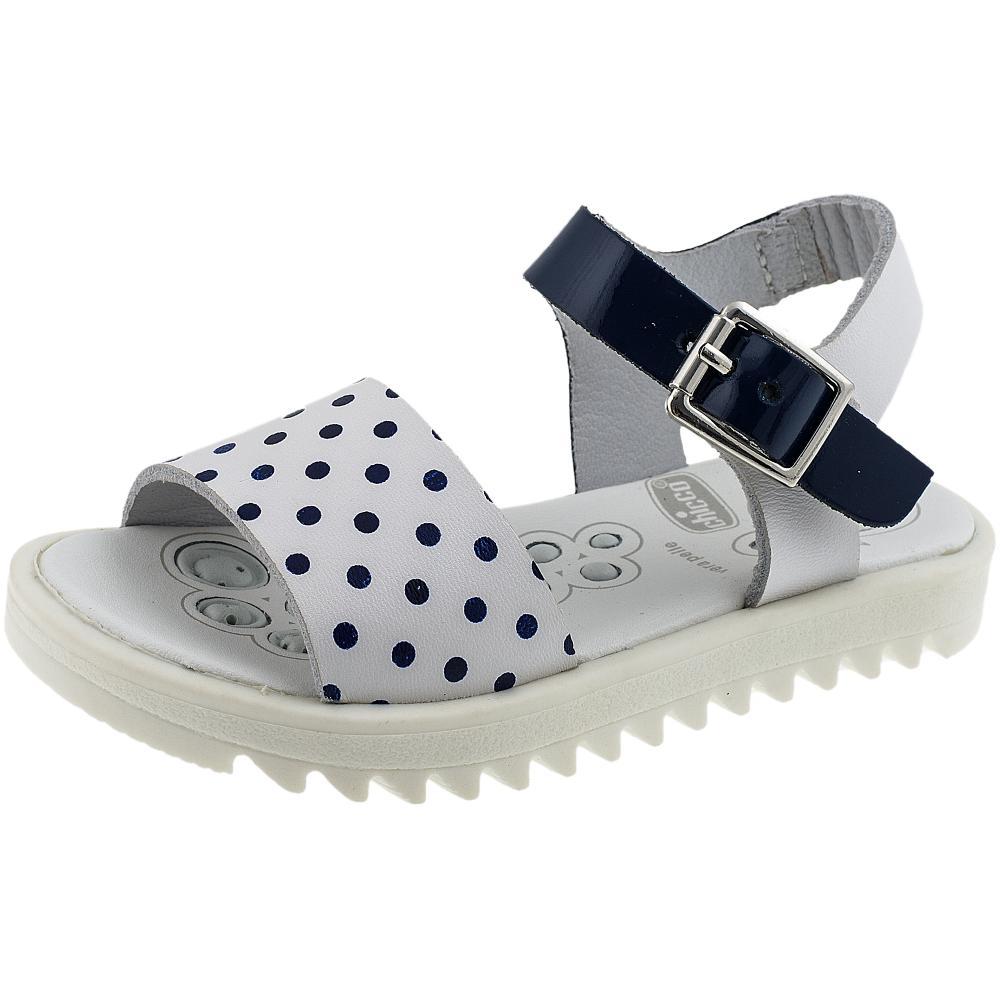 Sandale fetite Chicco, alb cu buline, 55505