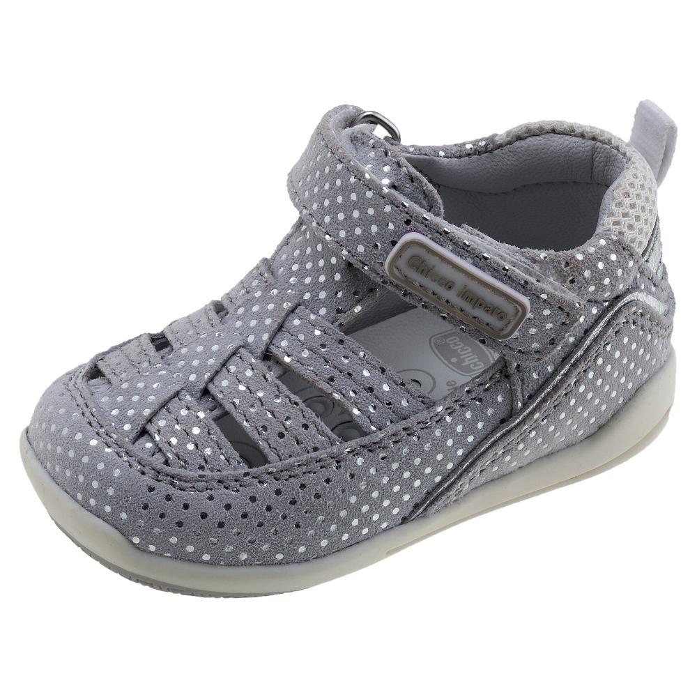 Sandale Chicco, 80% piele naturala si 20% material textil, gri-argintiu