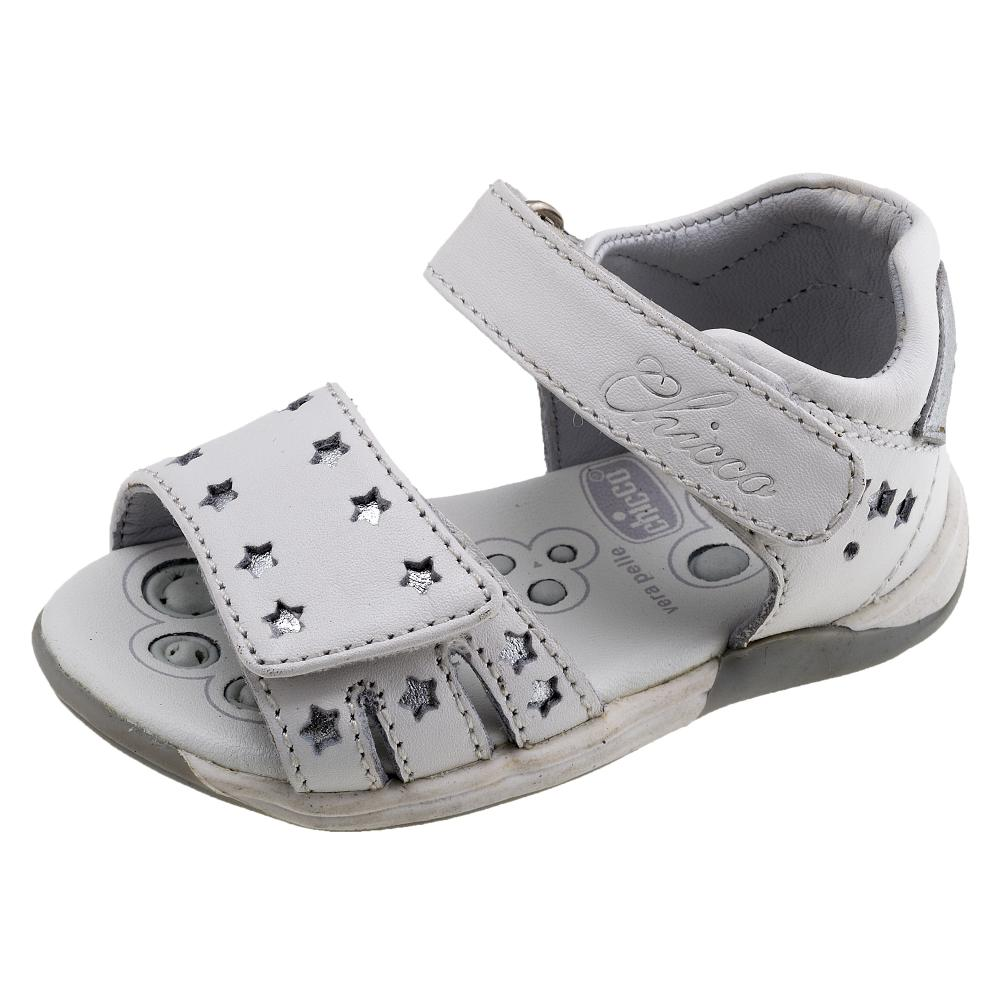 Sandale copii Chicco, piele naturala, alb