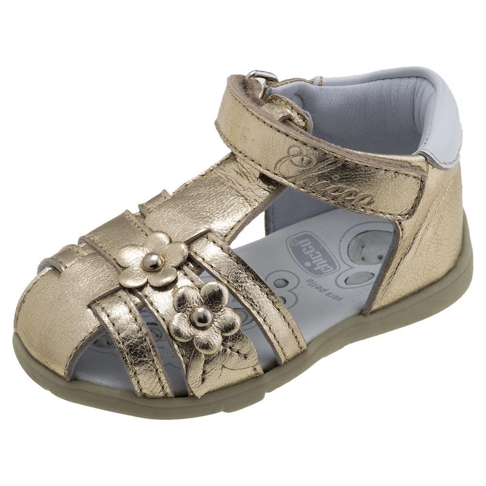 Sandale copii Chicco, piele naturala, auriu