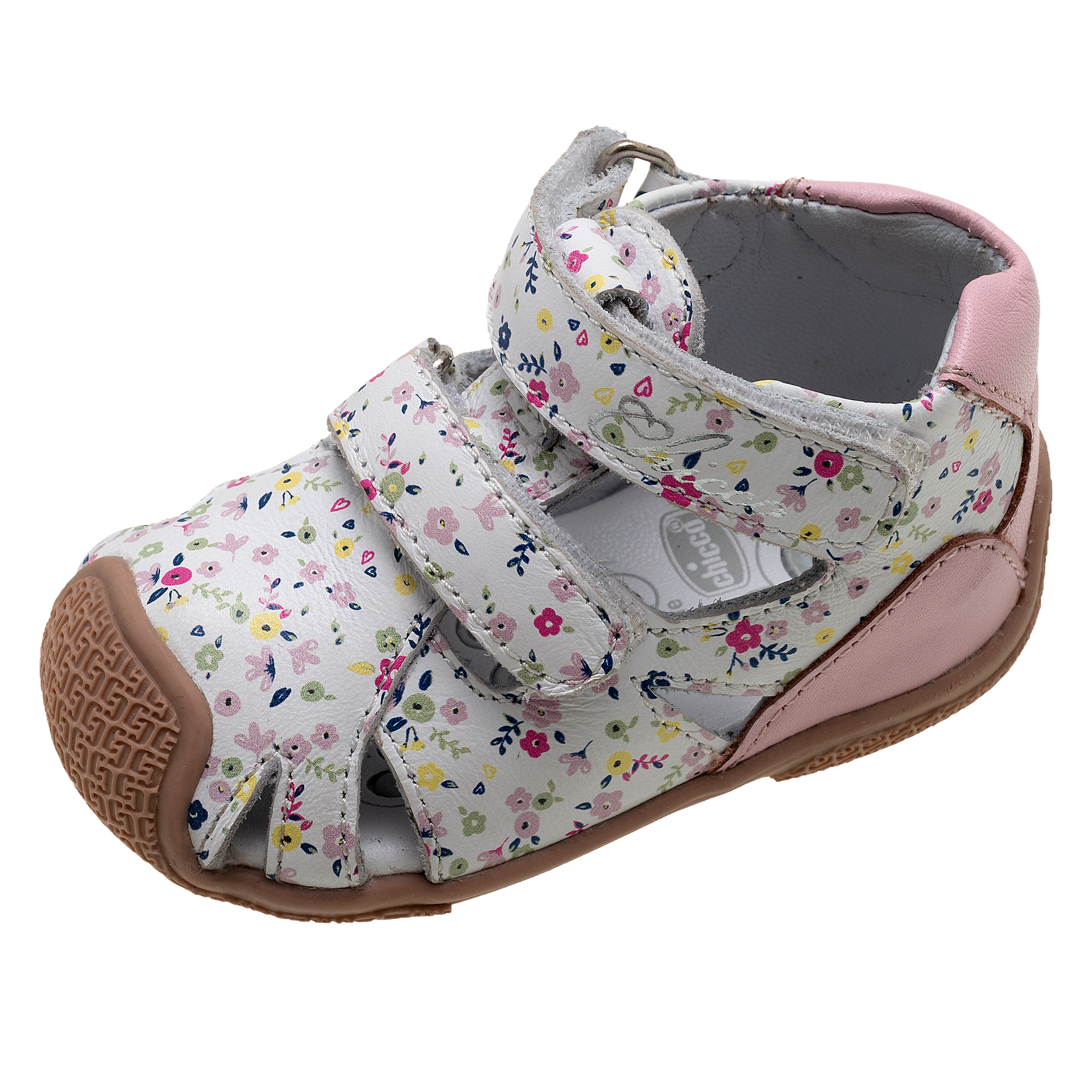 Sandalute Fete Chicco Geldin, Alb Cu Imprimeu Floral, 61473 imagine