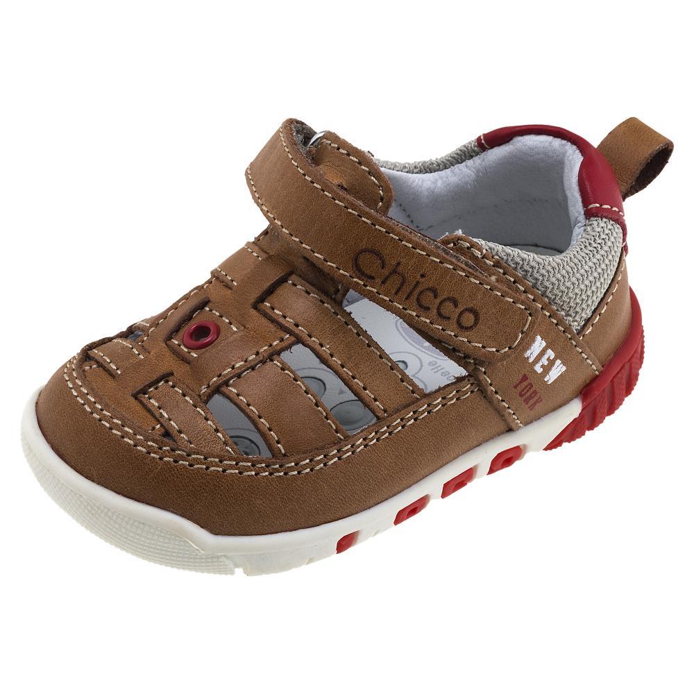 Sandale sport copii Chicco, maro cu rosu