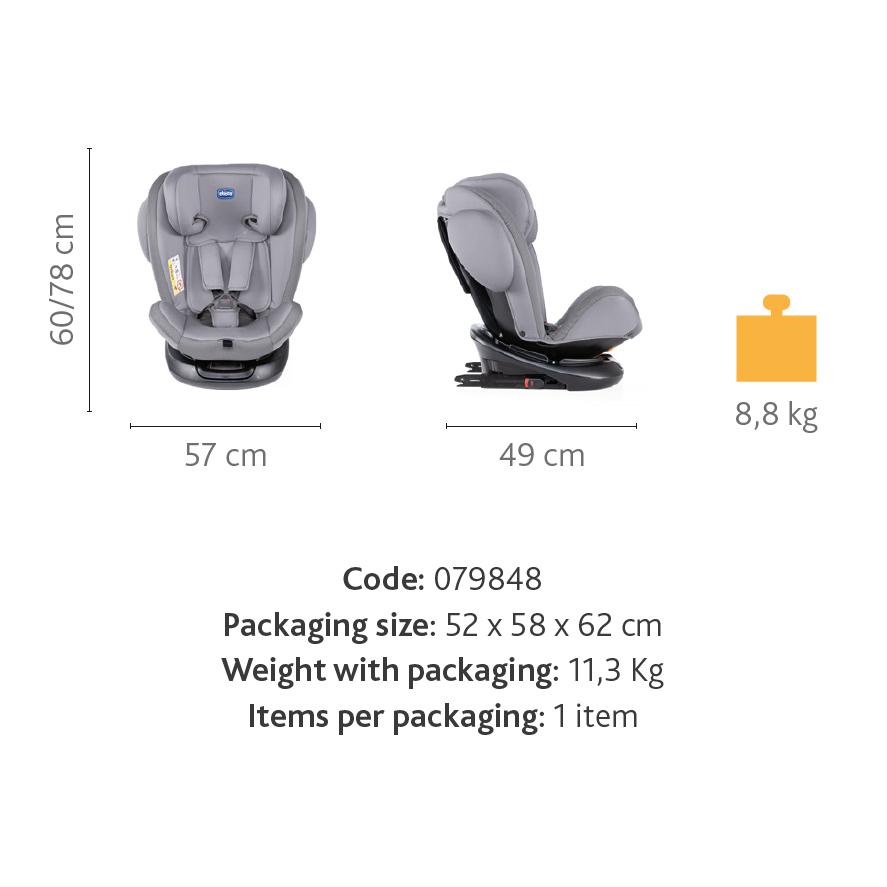 Scaun auto Chicco Unico Isofix rotativ Pearl (Gri) Grupa 0+/1/2/3