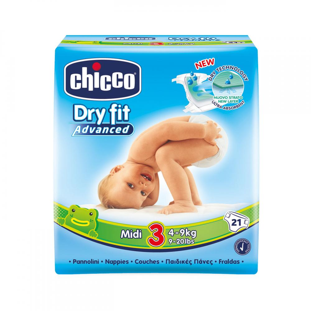 Scutece Chicco Dry Fit Advanced Midi, Nr.3, 4-9kg, 21buc imagine