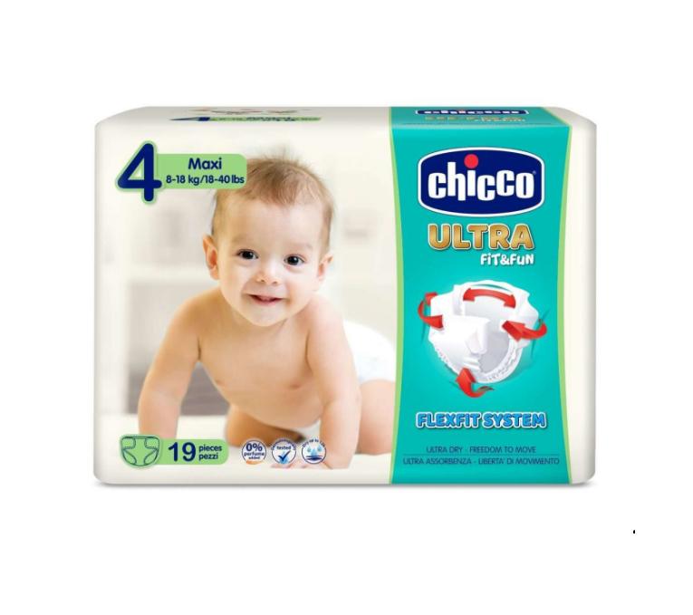 Scutece Chicco Ultra Fit & Fun Maxi, Nr.4, 8-18kg, 19buc imagine