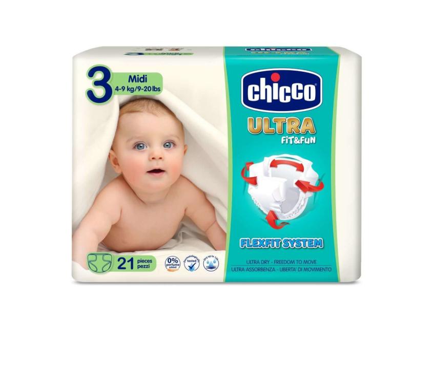Scutece Chicco Ultra Fit & Fun Midi, Nr.3, 4-9kg, 21buc imagine