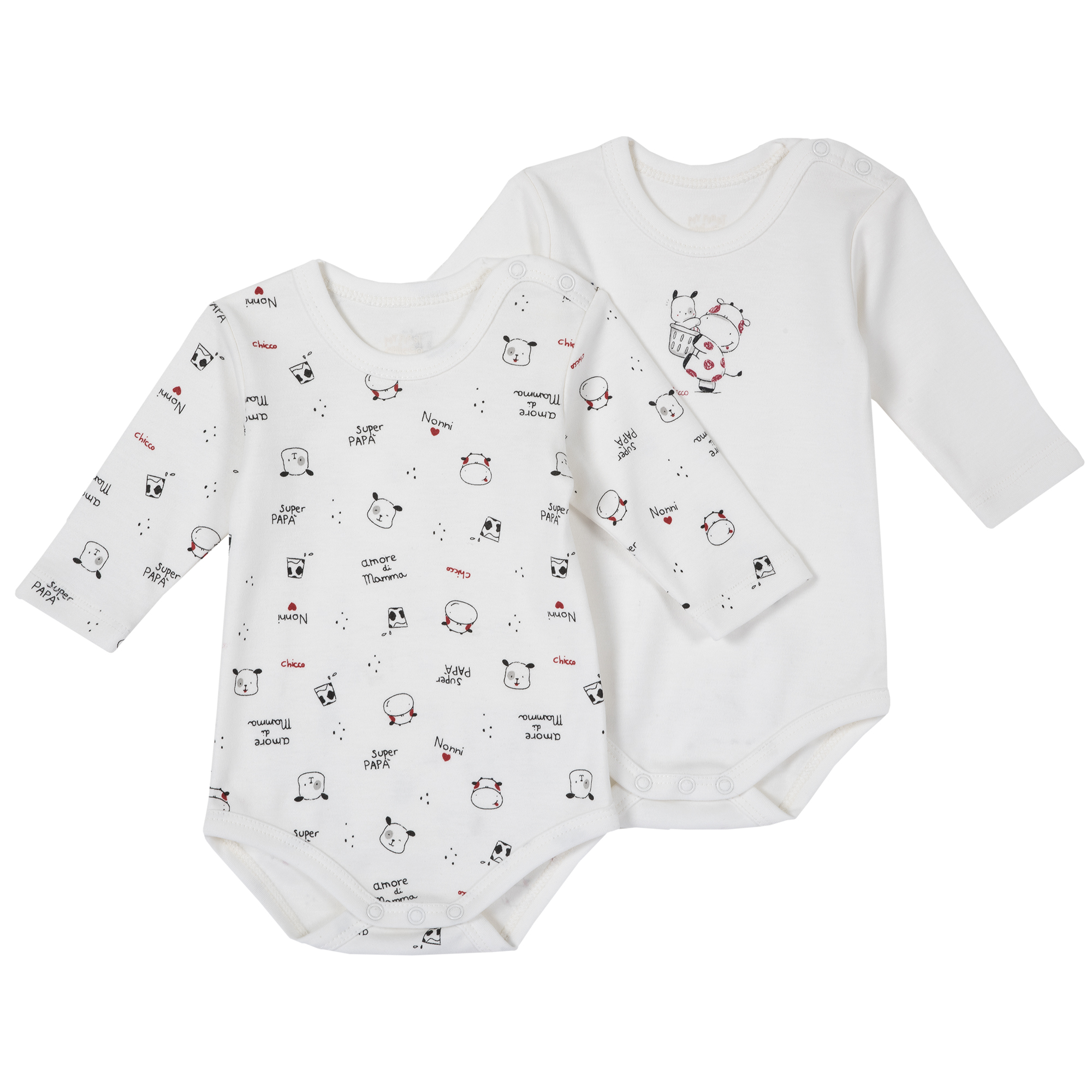 Set body bebe Chicco, doua bucati, maneca lunga, alb, 11396 din categoria Salopete/Body