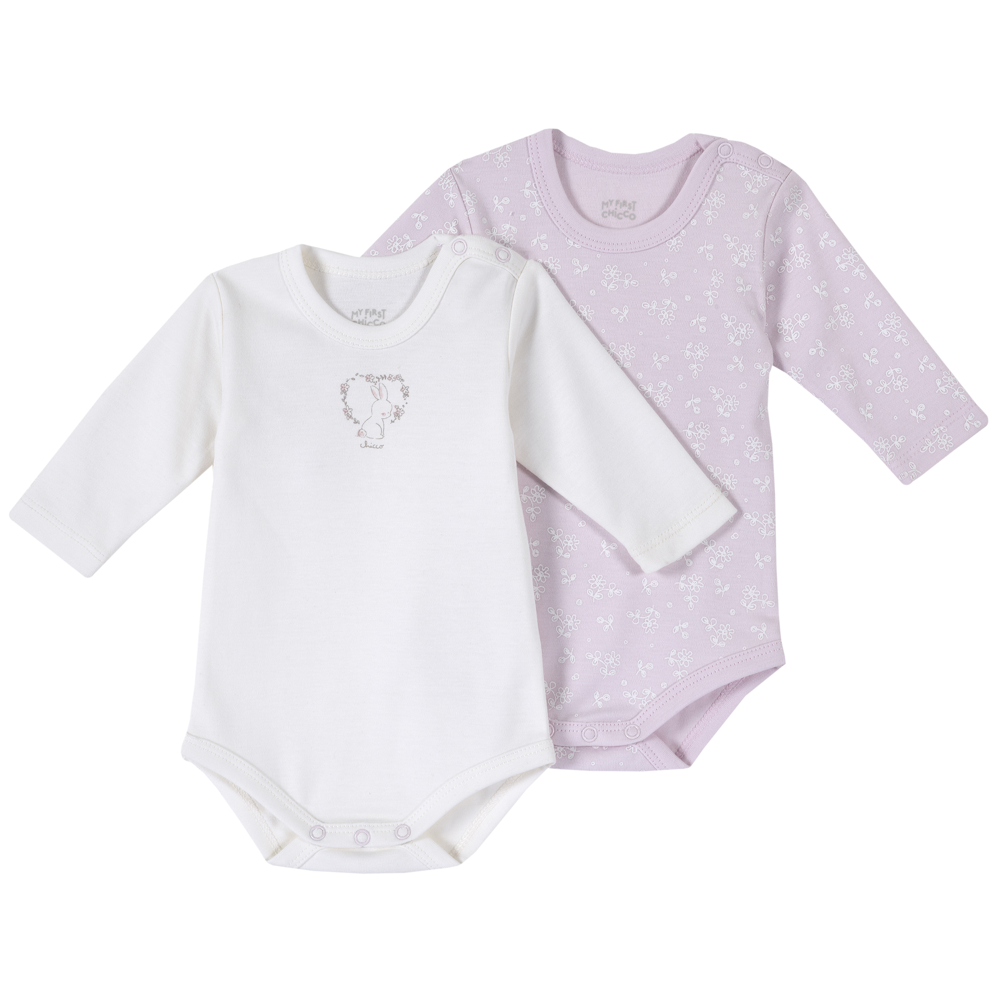 Set doua body bebe Chicco, maneca lunga, roz, 11398 din categoria Salopete/Body