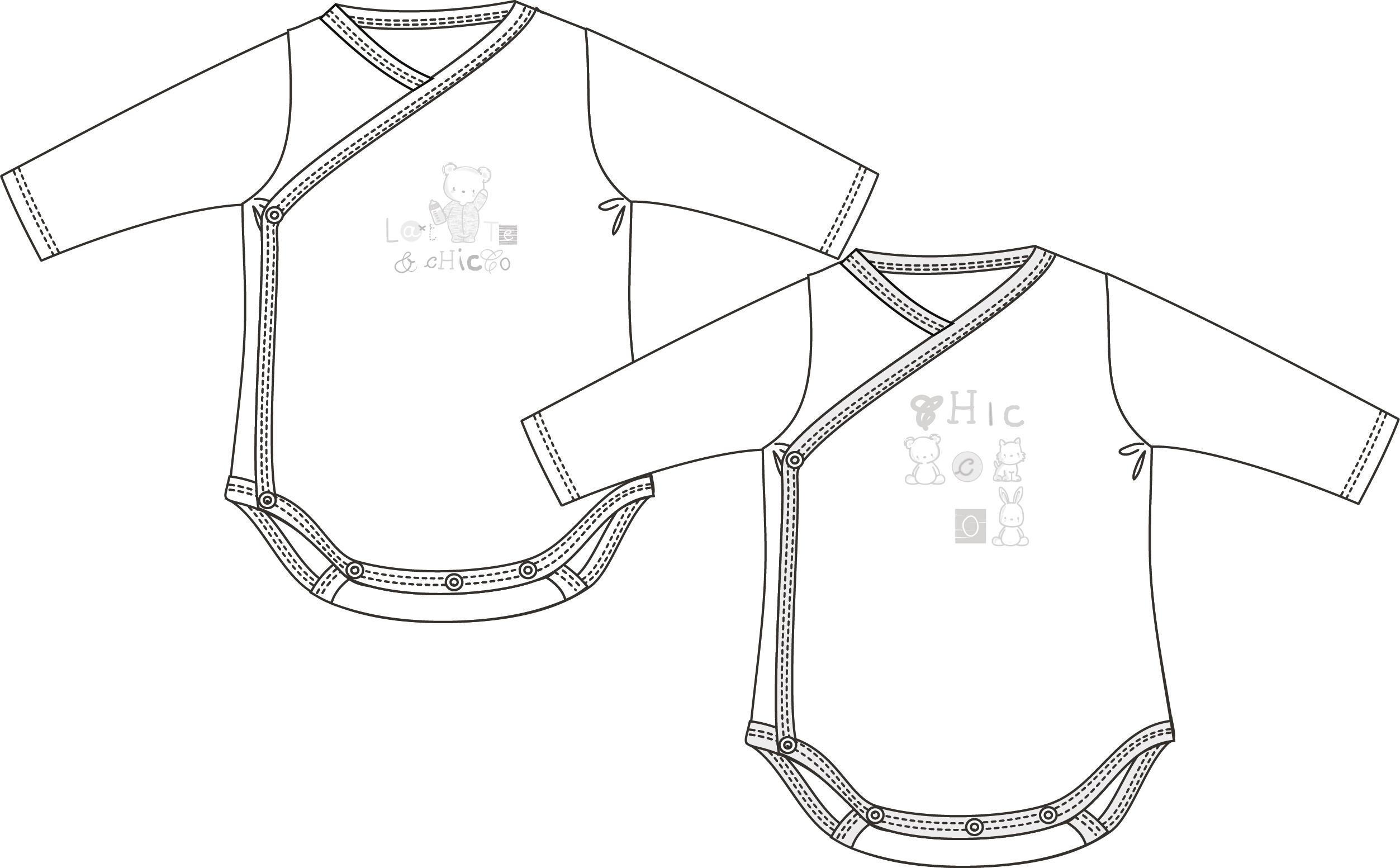 Set 2 body-uri Chicco, maneca lunga, alb, 11416