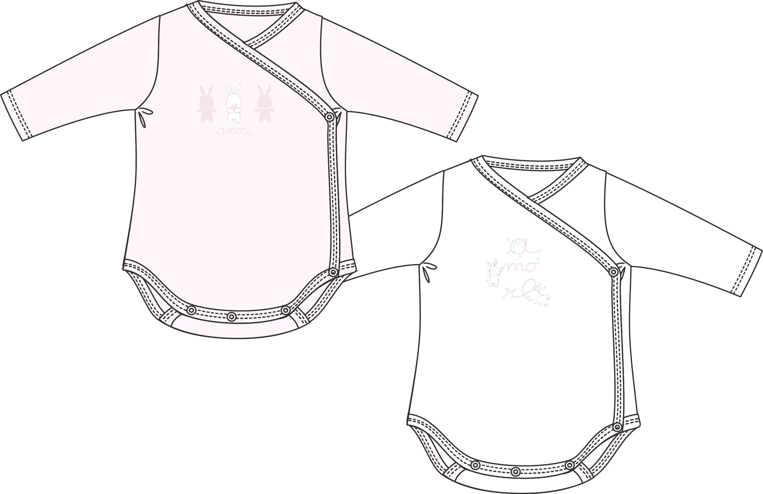 Set 2 body-uri Chicco, maneca lunga, roz, 11416 din categoria Salopete/Body