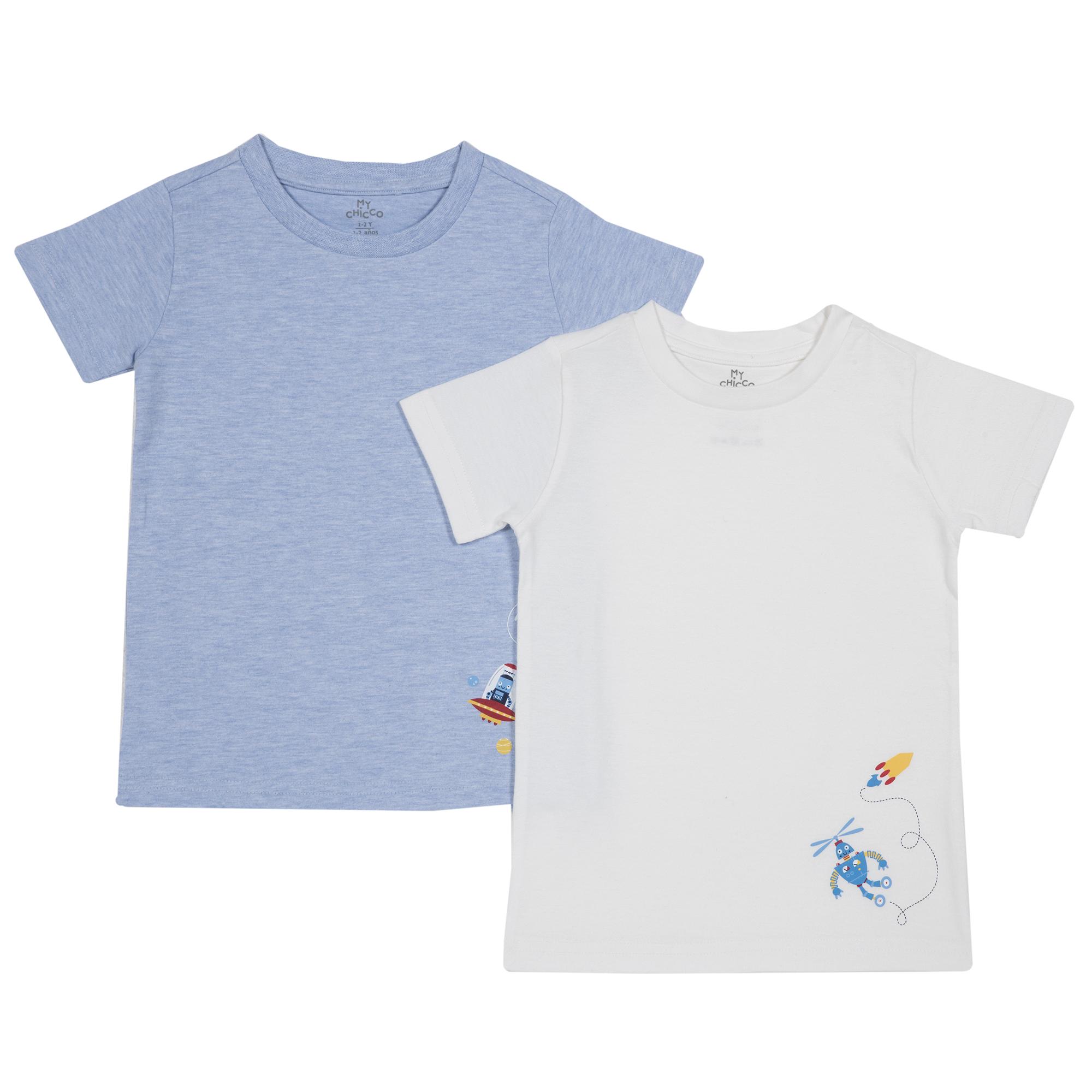 Set Doua Tricouri Copii Chicco, Albastru Si Alb imagine