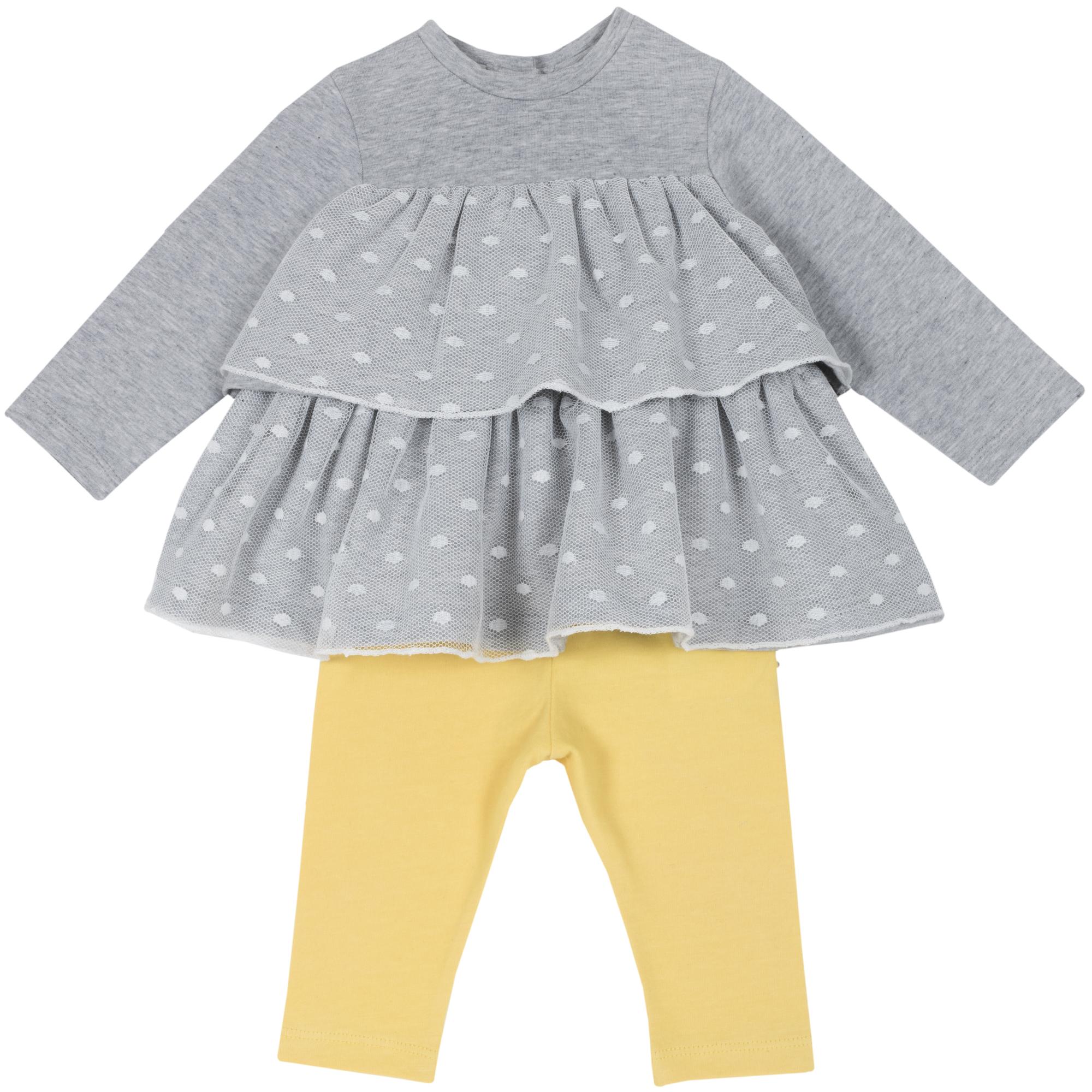 Chicco Set pantalon + bluza copii Chicco galben deschis 68
