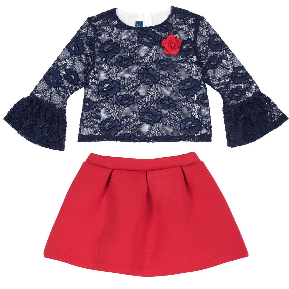 Costumas elegant Chicco, bluza de dantela si fusta. 76392 din categoria Set doua piese