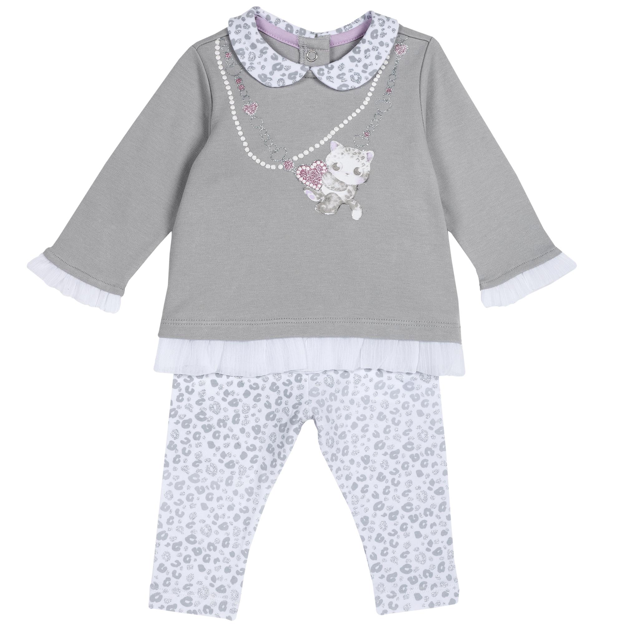 Set Bluza Si Pantaloni Copii Chicco, Gri Deschis, 77851 imagine